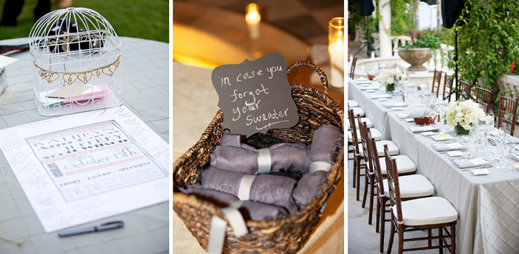 Wedding tables and stationery